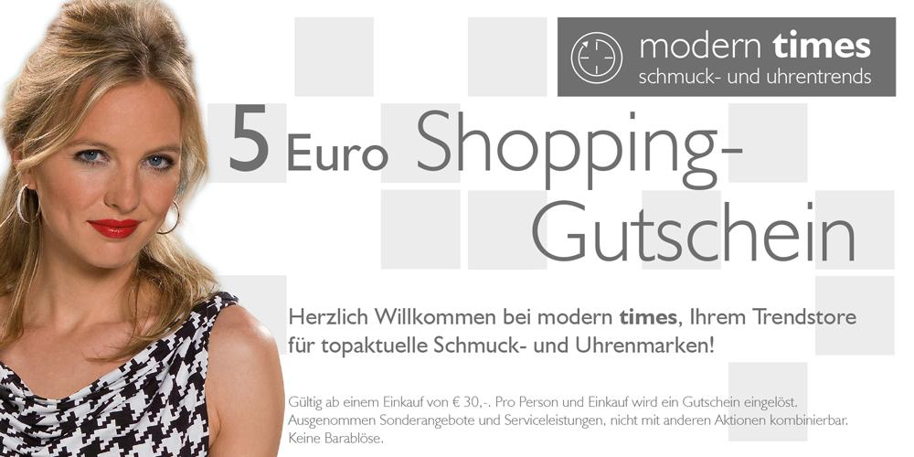 modern times 5 Euro Gutschein